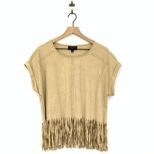 Romeo & Juliet Couture Suede Fringe Top Large